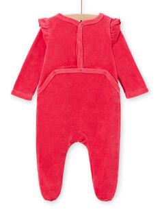 Mädchen rosa Samt Baby Strampler mit Eule Muster LEFIGRETYP / 21SH135AGRED332