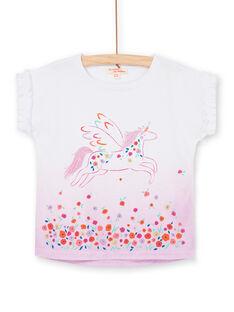 Weißes T-Shirt mit rosa Einhorn-Farbverlauf LAVITI2 / 21S901U3TMC000