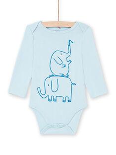 Baby Boy's Blue Long Sleeve Elephant Bodysuit MEGABODELE / 21WH14B2BDL222