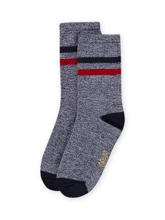 Dunkelblau gestreifte Socken für Baby-Jungen LYOHACHO2 / 21SI02X2SOQ705