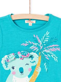 Türkisfarbenes Koala-T-Shirt für Mädchen LAVERTI3 / 21S901Q2TMCC217