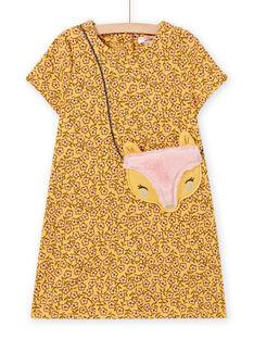Gelbes Kleid mit Blumendruck und Animationsbeutel für Mädchen MASAUROB4 / 21W901P4ROBB107