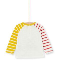 Ecru und gelbes Baumwoll-T-Shirt Baby Boy LUNOTEE3 / 21SG10L1TML001