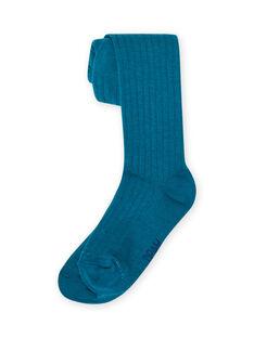 Blaue Rippenstrumpfhose für Mädchen MYAJOCOL4 / 21WI0118COL714