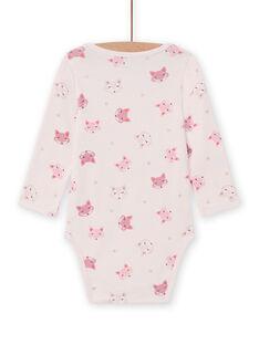 Baby Mädchen rosa Langarm-Body mit Fuchs-Print MEFIBODTET / 21WH13C1BDL632
