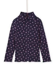 Marineblaue gerippte Unterhose für Mädchen mit Blumendruck MAJOSOUP6 / 21W901N3SPL070