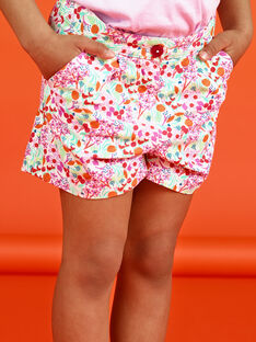 Baby Girl's Pink and White Flower Shorts LAVISHORT / 21S901U1SHO000