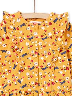 Baby Mädchen Senf Gelb Floral Print Kleid & Marineblau Leggings MIMIXENS / 21WG09J1ENSB106