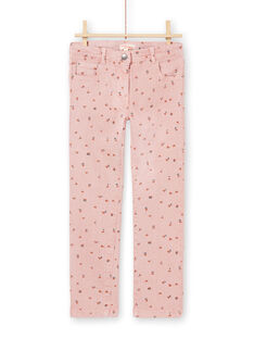 Rosa geblümte Hose für Mädchen MAJOPANT2 / 21W90122PAN312