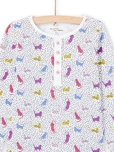 Mädchen-Pyjama mit Tupfen und Leopardendruck MEFAPYJPAN / 21WH1134PYJ001