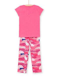 Pyjama-T-shirt und Hose fuchsia und weiß Kind Mädchen LEFAPYJWAXEX / 21SH115DPYJ030