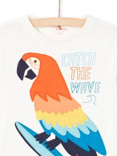 T-Shirt für Jungen in Ecru mit Papagei LOBONTI5 / 21S902W3TMC001