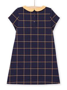 Nachtblaues kurzärmeliges Kleid für Mädchen mit gelben Karos MAJOROB1 / 21W90122ROBC205