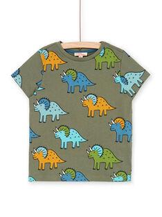 Khaki und blau Dinosaurier Druck-T-Shirt für Jungen LOVERTI4 / 21S902Q2TMCG631