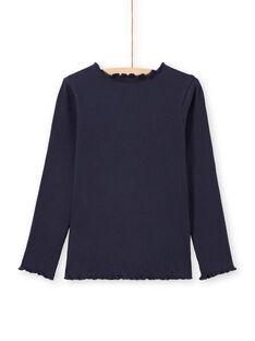Langärmliges geripptes T-Shirt für Mädchen in uni blau MAJOUTEE2 / 21W90122TMLC205