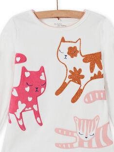 Pyjama-Set für Mädchen mit T-Shirt und Hose mit Katzenmotiv MEFAPYJCAT / 21WH1184PYJ001