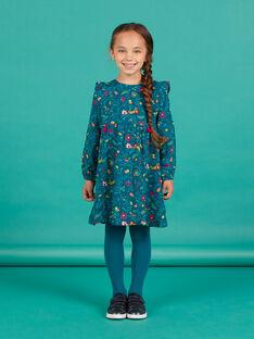 Entenblaues Twillkleid für Mädchen mit Blumendruck MATUROB1 / 21W901K2ROB714