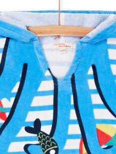 Blau-weiß gestreifte Baby-Jungen-Badekappe mit Kapuze und Baby-Jungen-Streifen LYUCAPE / 21SI10D1CDB001