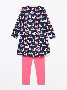 Mädchen marineblau und rosa Pyjama-Set mit Leggings MEFACHUCAT / 21WH1181CHN070