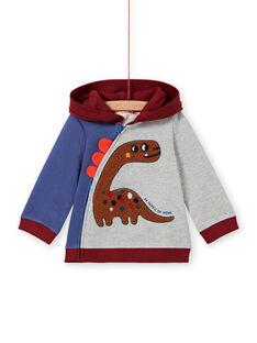 Dreifarbige Kapuzenweste für Baby-Jungen mit Dinosaurier-Print MUPAGIL / 21WG10H1GIL943