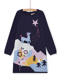 Langärmeliges Kleid für Mädchen mit Einhornmuster MAPLAROB1 / 21W901O2ROBC202