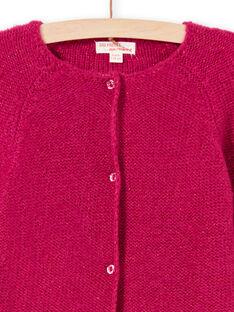 Einfarbig rosa langärmelige Strickjacke für Mädchen MAJOCAR4 / 21W90122CARD312