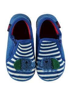 Blaue Samtslipper mit Streifen Baby Junge GBGBOTELE / 19WK38Z5D0A070
