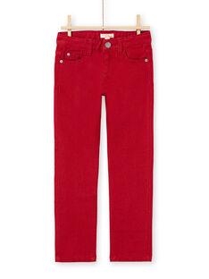 Einfarbige rote Jeans für Jungen MOJOPAKNI3 / 21W90225PAN506