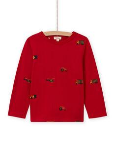 Rotes Langarm-T-Shirt für Jungen mit Auto-, Traktor- und Hubschrauber-Aufdruck MOCOTEE2 / 21W902L4TMLF521