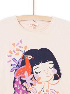 Kurzarm-T-Shirt für Mädchen in Hellrosa mit Pfauenmotiven MAPATI2 / 21W901H2TMCD319