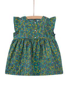 Baby Mädchen khaki Flanell Kleid mit Blumendruck und Streifen MIKAROB1 / 21WG09I1ROB612