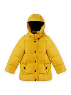 Einfarbige gelbe Daunenjacke mit Kapuze für Kind Junge MOGRODOU5 / 21W90263D3E106
