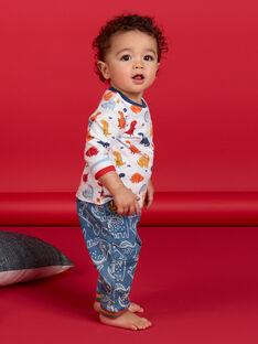 Wendbarer weißer und roter Dinosaurier-Print Baumwolle Baby-Boy-T-Shirt LUCANTEE2 / 21SG10M2TML000