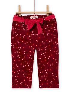 Burgunderfarbene Satinhose mit Blumendruck für Baby-Mädchen MIFUNPAN1 / 21WG09M2PAN504