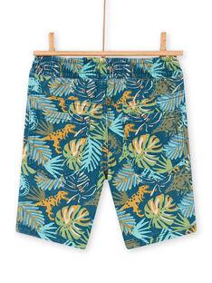 Blaue und grüne Bermudashorts mit Laubdruck für Jungen und Mädchen LOVERBER1 / 21S902Q4BER622