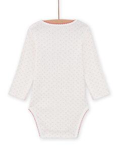 Weißer Baby-Mädchen-Bodysuit mit Tierprint MEFIBODAMI / 21WH13C5BDL001