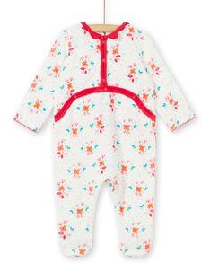 Baby Schlafanzug aus Mädchensamt mit Blütendruck aus Samt LEFIGREBOU / 21SH1312GRE001