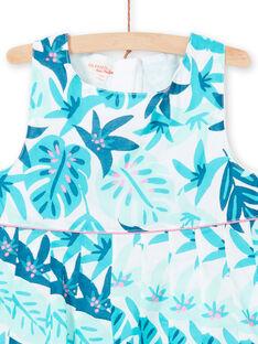 Baby Mädchen Weiß und Blau Foliage Print Kleid LAVEROB3 / 21S901Q1ROB001