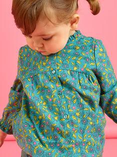 Baby-Mädchen-Langarmbluse mit Blumendruck und Streifen MIKACHEM / 21WG09I1BLU612