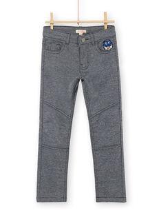 Mitternachtsblaue und grau melierte Strickhosen für Jungen LOBLEPAN2 / 21S902J2PAN705