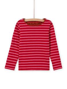 Wendbares Langarm-T-Shirt für Mädchen in Camel und Rot MACOMTEE4 / 21W901L4TML420