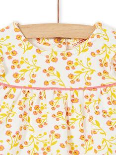 Kleid mit weißem und gelbem Blumendruck und weiß-rot gestreifte Leggings Baby-Mädchen-Set LINAUENS1 / 21SG09L2ENS001