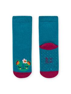 Türkisblaue Socken mit Tiermotiv Baby Mädchen MYIJOSOQB3 / 21WI0915SOQC217