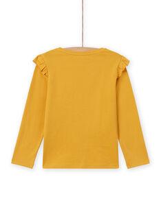 Gelbes langärmeliges Fuchs-T-Shirt für Mädchen MASAUTEE2 / 21W901P1TMLB107