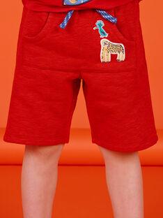 Bermudashorts rot gesprenkelt Kind Junge LOVIBER2 / 21S902U2BERF520