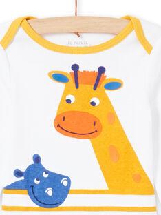 Baby Junge weiß und gelb gestreiften Strampler MEGABODHIP / 21WH14B6BDL000