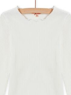 Geripptes T-Shirt für Mädchen in Ecru MAJOUTEE1 / 21W90127TML001