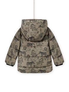 Bedruckte khakifarbene Daunenjacke für Kind Junge MOGRODOU4 / 21W90261D3E080