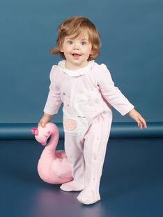 Rosa Samtstrampler mit Schwanenmotiv Baby Mädchen MEFIGRESWA / 21WH1385GRED314