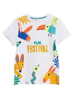 Weißes kurzärmeliges T-Shirt für Jungen, mit Tieren JOMARTI3 / 20S902P6TMC000